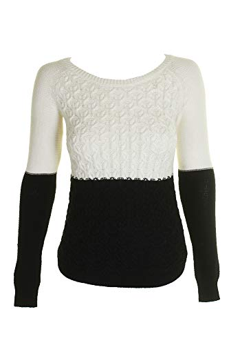 Maison Jules Womens Cable Knit Colorblock Pullover Sweater B/W S Deep Black