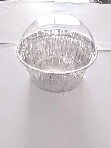 5oz (150ml) Silver Color Aluminum Foil Baking Cups with Dome Lids,40/Pack