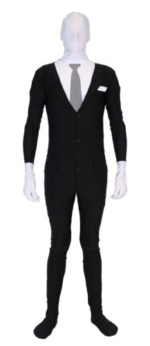 Slender Man Spandex Full Body Zip Up Bodysuit Costume (Adult Large/X-Large)