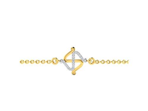 Argent Jaune 92 ct Bracelet Diamant , 0.1 Ct Diamant, GH-SI, 0.59 grammes.