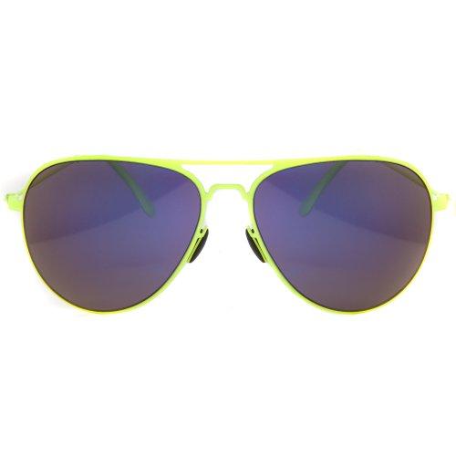 Soleil Lunettes D'aviateur Verres Des Pont Accessoryo Colorés Doubles Jaune Miroir Miroirs Jaune De Bleu Avec Néon Dames nU0xYqxAR