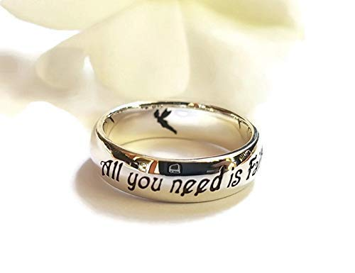 Peter Pan Jewellery - Faith Trust and Pixie Dust Peter Pan Ring J.M. Barrie quote Tinkerbell Ring Peter Pan Jewelry Fairy Tale Jewelry Sterling Silver Ring