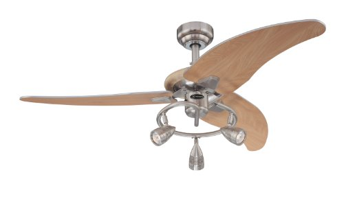 7850500 Elite 48-Inch Brushed Nickel Indoor Ceiling Fan, Light-bulb Kit with Three Spotlights