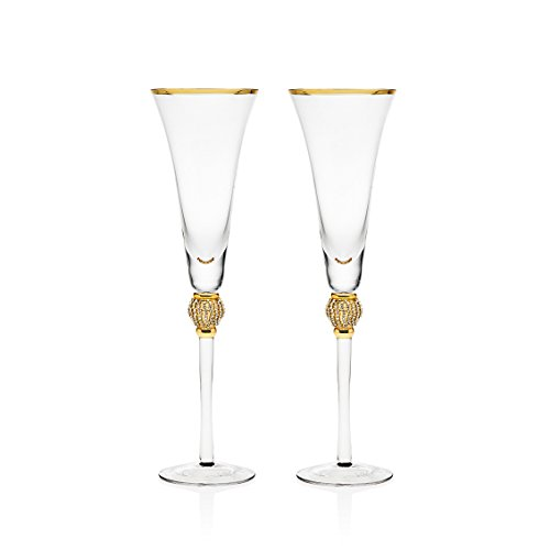 Gold Champagne Flute (Trinkware Set of 2 Champagne Flutes - Rhinestone