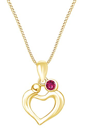 AFFY Mother's Day Jewelry Gifts Round Simulated Ruby Mom and Children Love Heart Pendant Necklace in 14k Yellow Gold Over Sterling Silver