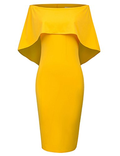 - GRACE KARIN Women's Sexy Off Shoulder Cocktail Dress Size XL Yellow