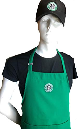 Ultimate Aprons Beautiful Starbucks Green Apron Center Pocket Embroidered Logo Patch (Apron + HAT)]()