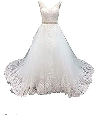 Datangep Women S Double V Neck Lace Applique Empire Long Wedding