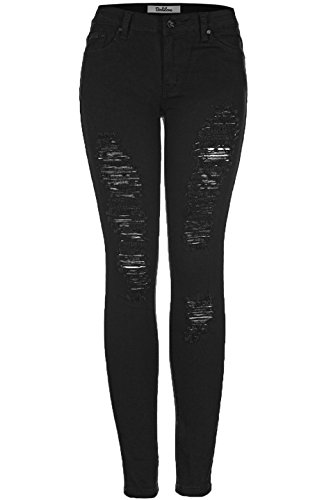 BodiLove Women's 2LUV Distressed Skinny Jeans