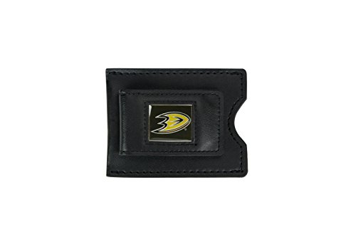 NHL Anaheim Ducks Men's Leather Money Clip and Card Case, 3.5 x 2.75