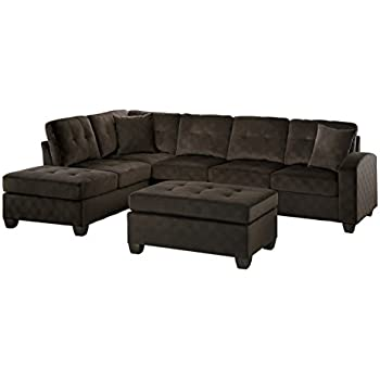 Awesome Homelegance 2 Piece Sectional Sofa Polyester With Reversible Chaise, Two  Toss Pillows, And Ottoman