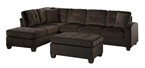 Homelegance 2 Piece Sectional Sofa Polyester With Reversible Chaise, Two Toss Pillows, and Ottoman, Chocolate