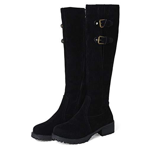 Noir Décontractée Élégant Bottes Hiver Taoffen Femmes Plates Longue Chaudes Chaussures ZqBOzwx