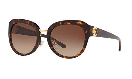 Tory Burch Women's 0TY7124 56mm Dark Tortoise/Dark Brown Gradient One Size (Tory Burch Sun Glass Case)