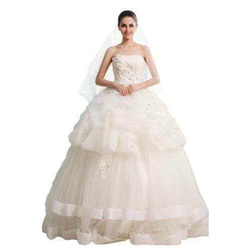 abito abito Glamorous A Tulle da Avorio per matrimonio elegante Line sera Sunvary cuori qapzdE4nzx