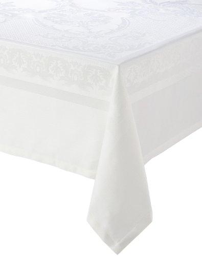 Garnier Thiebaut, Beauregard Blanc (White) Tablecloth, 75'' x 122'', 100% two-ply twisted cotton, Made in France by Garnier-Thiebaut