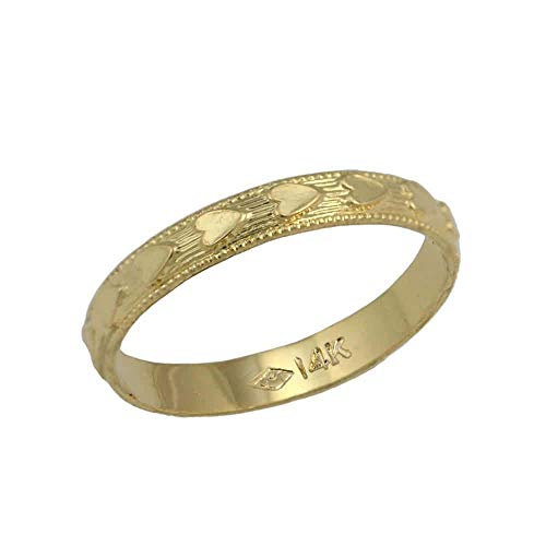 Children Jewelry - 14K Yellow Gold All Around Faceted Heart Kids Ring (Size 4) ()