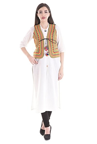 Flavia Creation Women's kutch Embroidered Shrug/Navratri Special Gujarati Koti Jacket Assorted and Designs Medium (Embroidered Shrug)