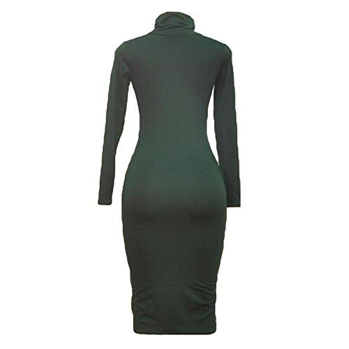 del alto vendaje largo mujeres del del Bodycon del del del de del cuello las Verde Vestido abrigo Bodycon vestido cuello Juleya atractivo xqwOZIO