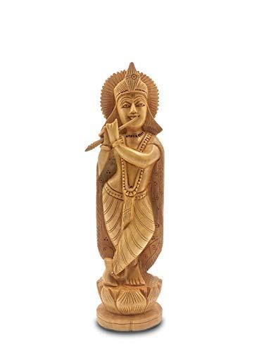 Krishna Wooden Statue Playing Flute - Krishna Idol 8 Inches Home Decor gift from Padharosa Art