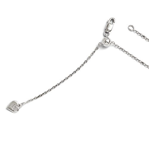 - 1.5mm Rhodium Plated Sterling Silver Adjustable Solid Cable Chain Necklace, 22 Inch