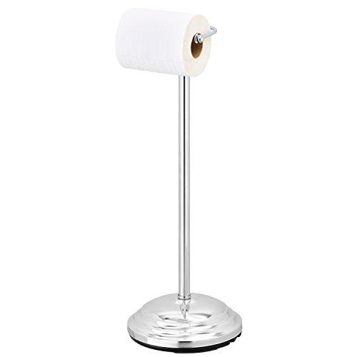 Freestanding Chrome-Plated Bathroom Toilet Paper Dispenser, Single Tissue Roll (Chrome Plated Single)