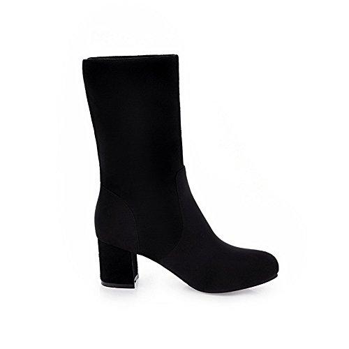 VogueZone009 Damen Rein Blend-Materialien Niedriger Absatz Ziehen auf Rund Zehe Stiefel, Silber, 37