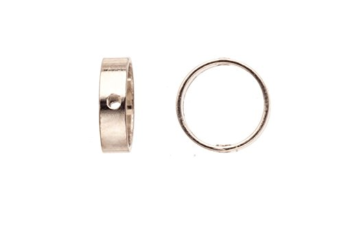 40pcs Bead Frame, Flat Ring Silver-Finished Brass 8x2.5mm, fits Up To 6mm Beads ()