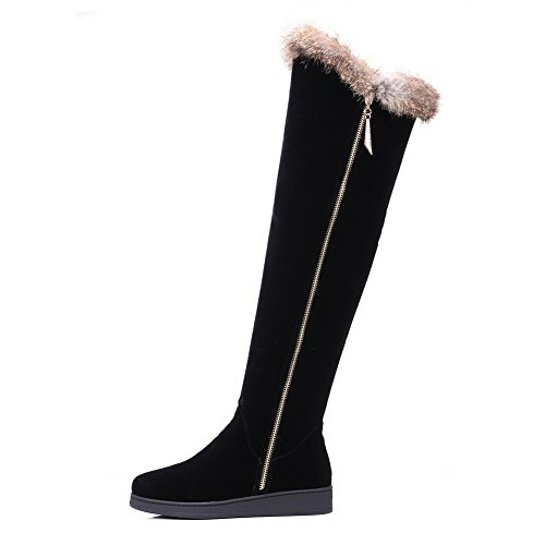 Knee High ABL09855 Suede BalaMasa Black Loafer Penny Low Womens Boots Heels Zipper 0p4Bq0Y