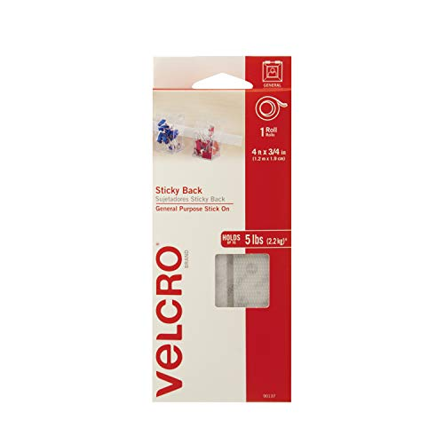 VELCRO Brand - Sticky Back Hook and Loop Fasteners| Perfect for Home or Office |  4ft x 3/4in Tape | White