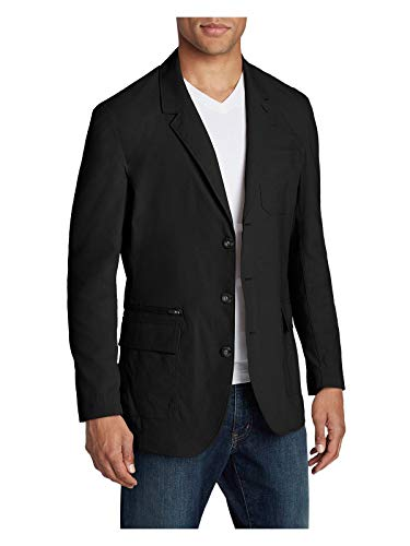 Eddie Bauer Men's Voyager 2.0 Travel Blazer, Black Regular 44