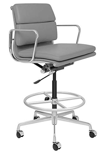Drafting Office Chair Grey Loop - SOHO Premier Soft Pad Drafting Chair - Italian Leather and Aluminum, Commercial Grade Draft Height for Standing Desks (Grey)