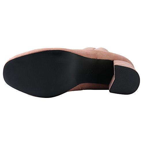 Ankle Women's Boots Zipper Side Pink Elegant Leroy Heel Alexis Booties 7qSv0