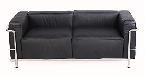 MLF Modern Style Grande Loveseat Sofa(Multi Colors, Black Premium Aniline Leather