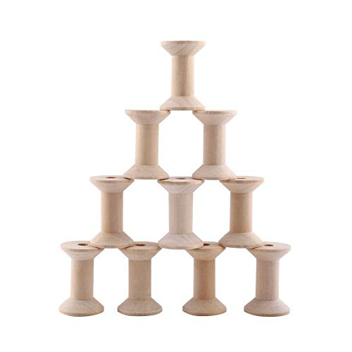 10pcs Wooden Empty Spool Empty Thread Spools Natural Wire Weaving Bobbins Wood Color 47mm x31mm