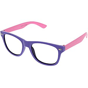 Kids Nerd Retro Two Color Frame Clear Lens Childrens Fake Eye Glasses (Age 3-10) Purple/Pink