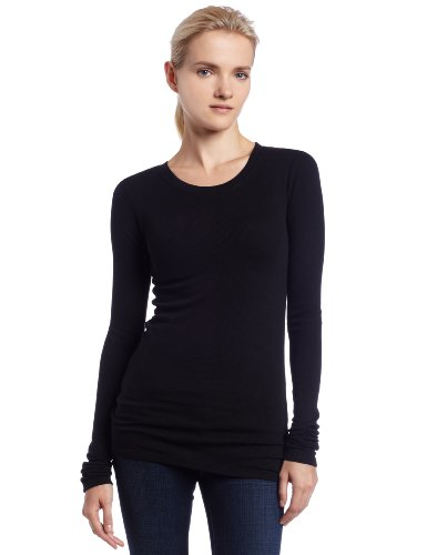 LAmade Women's Long Sleeve Thermal Tee, Black, Medium (Womens Long Sleeve Thermal Tee)