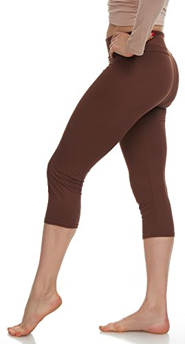 LMB Lush Moda Extra Soft Capri Leggings - Variety of Colors - Yoga Waist - Brown