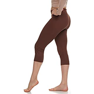 Extra Soft Capri Leggings with High Wast - 20 Colors Packs - Plus (One Size, Brown)