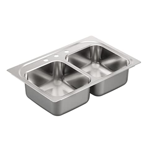 Moen G222133 2200 Series 22 Gauge Double Bowl Drop In Sink, Stainless Steel (Moen Drop In Sink)