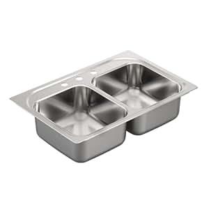 Moen G222133 2200 Series 22 Gauge Double Bowl Drop In Sink, Stainless Steel