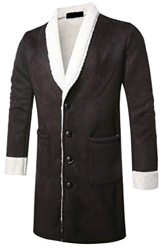 Coat Trench Length Long Faux TTYLLMAO Thicken Winter Single Lined Breasted Black Mens Fur Mid Awq1Uw