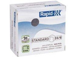 Rapid Agrafes Standard 24/6, Longueur 6 mm, 3000 Agrafes, Agrafe jusqu'à 20 feuilles, Fil flexible galvanisé, 24861100 Agrafe jusqu'à 20 feuilles Fil flexible galvanisé