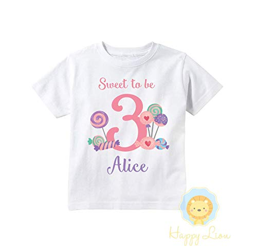 Happy Lion Clothing - Personalized Candy Shoppe Sweet Lollipop birthday shirt outfit for toddler girls