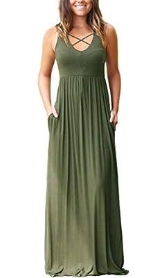 EZBELLE Women's Sleeveless Racerback Maxi Dresses with Pockets Plain Loose Long Dresses