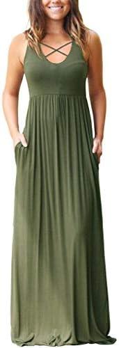 EZBELLE Sleeveless Racerback Dresses Pockets