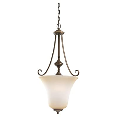 Sea Gull Lighting 51380-829 3-Light Hall and Foyer Pendant, Ginger Glass Shade and Russet Bronze