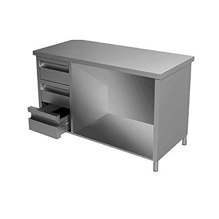 Mesa armadiato de acero inoxidable + cajonera Dim. cm 210 x 60 x ...