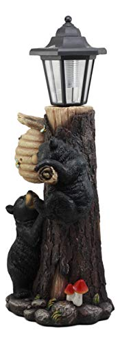 Ebros Large Climbing Black Bear Cubs Reaching for Honeycomb Beehive LED Path Lighter Statue 19''Tall with Solar Lantern Light Welcome Sign Guest Greeter Decor Figurine by Ebros Gift (Image #2)