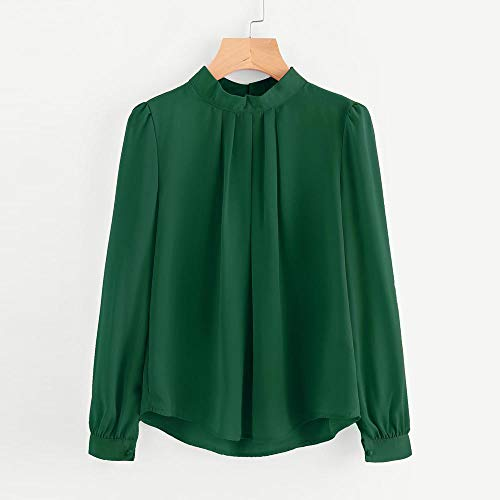 a6095756c5dc9 HGWXX7 Women Tops Lantern Long Sleeve Loose Chiffon Work Office T-Shirt  Blouse(XL,Green)